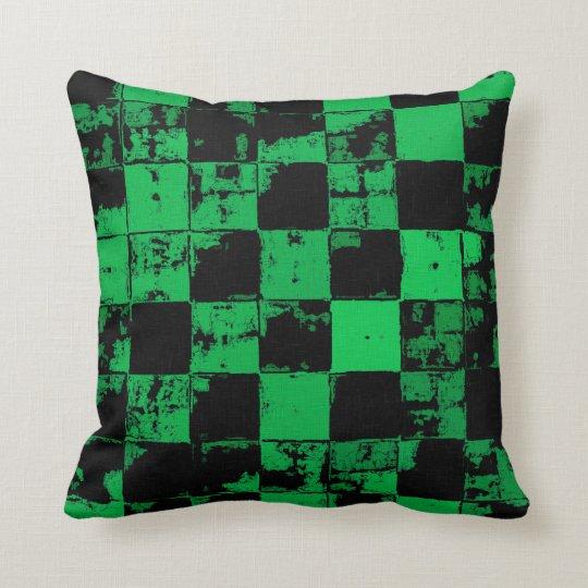 Grunge squares, black and green bricks pattern throw pillow