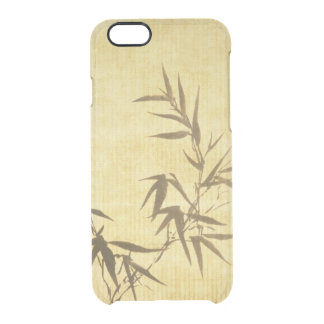 Grunge Stained Bamboo Paper Background Clear iPhone 6/6S Case