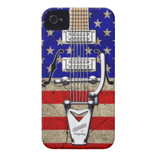 Grunge Stars and Stripes Vintage Guitar iPhone 4 Case-Mate Case