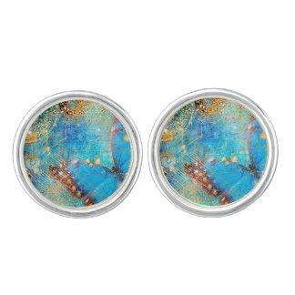 Grunge Steampunk Butterfly Abstract Design Cufflinks