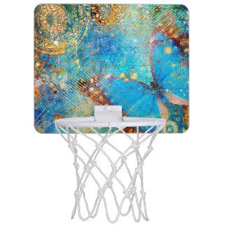 Grunge Steampunk Butterfly Abstract Design Mini Basketball Hoop