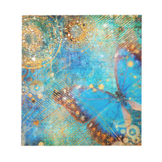 Grunge Steampunk Butterfly Abstract Design Notepad