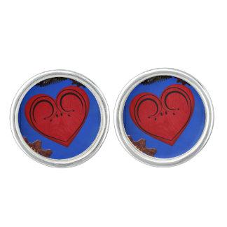 Grunge Steampunk Clocks and Gears Heart Cufflinks