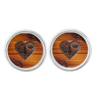 Grunge Steampunk Clocks and Gears Key Heart Box Cuff Links