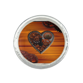 Grunge Steampunk Clocks and Gears Key Heart Box Photo Ring