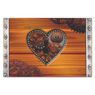 Grunge Steampunk Clocks and Gears Key Heart Box Tissue Paper