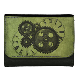 Grunge Steampunk Clocks and Gears Leather Wallet For Women