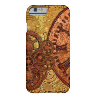 Grunge Steampunk Gear and Clock Barely There iPhone 6 Case