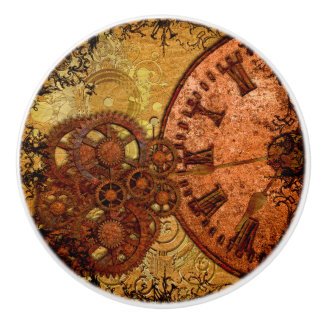 Grunge Steampunk Gear and Clock Ceramic Knob