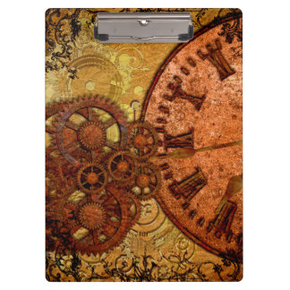 Grunge Steampunk Gear and Clock Clipboard