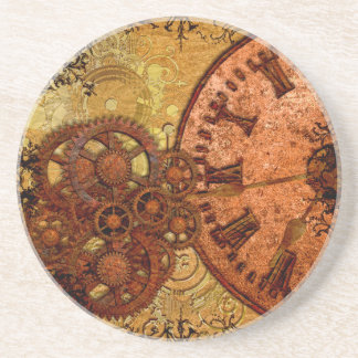 Grunge Steampunk Gear and Clock Coaster