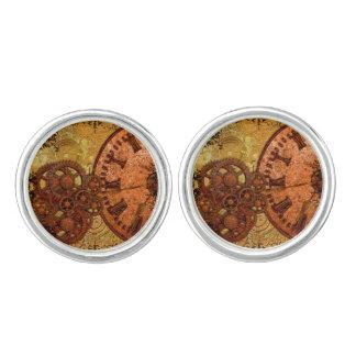 Grunge Steampunk Gear and Clock Cufflinks