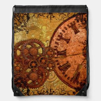 Grunge Steampunk Gear and Clock Drawstring Bag