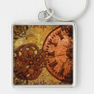 Grunge Steampunk Gear and Clock Keychain