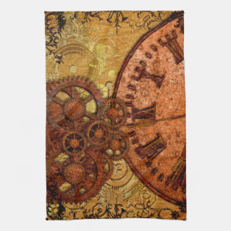 Grunge Steampunk Gear and Clock Kitchen Towel