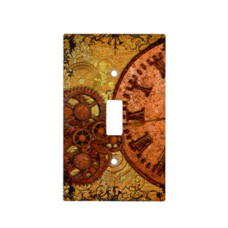 Grunge Steampunk Gear and Clock Light Switch Cover