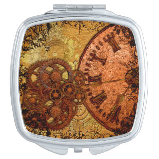 Grunge Steampunk Gear and Clock Mirror For Makeup