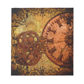 Grunge Steampunk Gear and Clock Notepad