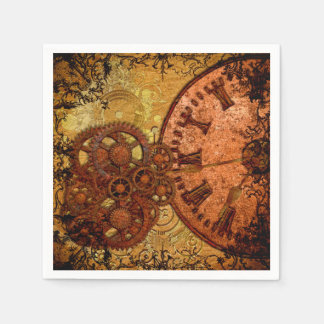 Grunge Steampunk Gear and Clock Paper Napkin