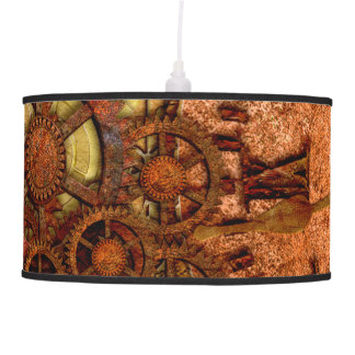 Grunge Steampunk Gear and Clock Pendant Lamp