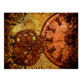 Grunge Steampunk Gear and Clock Postcard