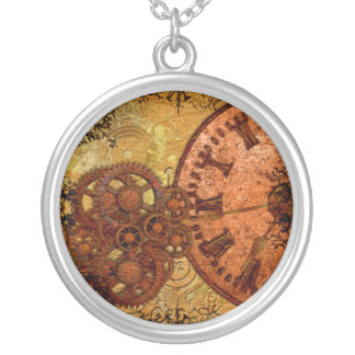 Grunge Steampunk Gear and Clock Silver Plated Necklace