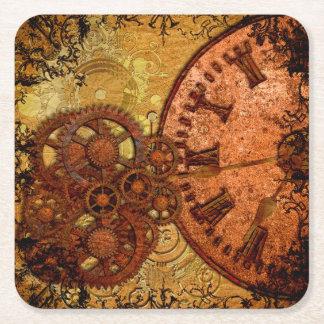 Grunge Steampunk Gear and Clock Square Paper Coaster