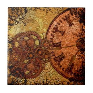 Grunge Steampunk Gear and Clock Tile