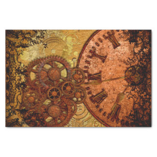 Grunge Steampunk Gear and Clock Tissue Paper