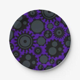 Grunge Steampunk Gears 7 Inch Paper Plate