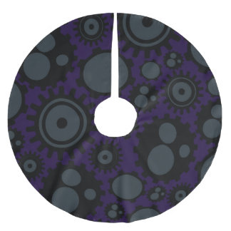 Grunge Steampunk Gears Brushed Polyester Tree Skirt