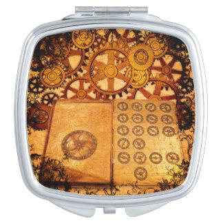 Grunge Steampunk Gears Compact Mirrors