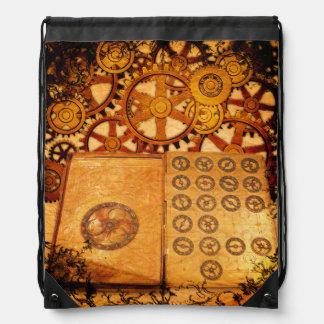 Grunge Steampunk Gears Drawstring Bag