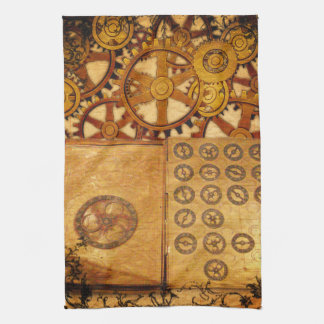 Grunge Steampunk Gears Kitchen Towel