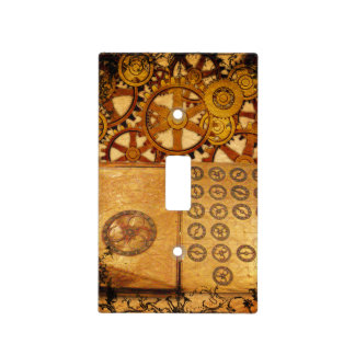 Grunge Steampunk Gears Light Switch Cover