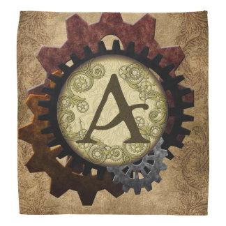Grunge Steampunk Gears Monogram Letter A Bandanna
