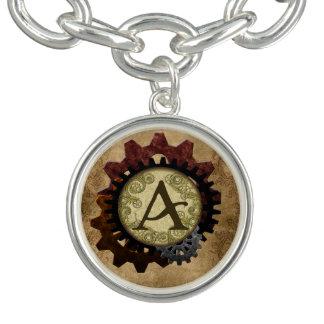 Grunge Steampunk Gears Monogram Letter A Charm Bracelet