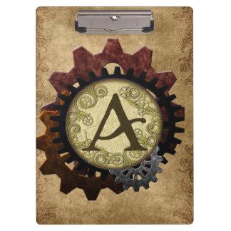 Grunge Steampunk Gears Monogram Letter A Clipboards