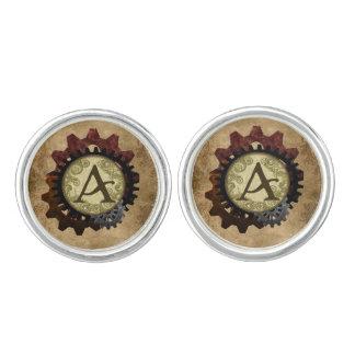 Grunge Steampunk Gears Monogram Letter A Cufflinks