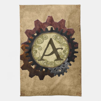 Grunge Steampunk Gears Monogram Letter A Kitchen Towel