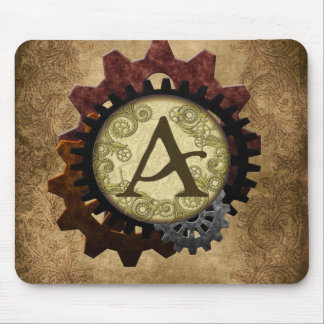 Grunge Steampunk Gears Monogram Letter A Mouse Pad