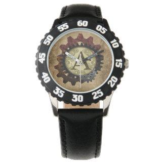 Grunge Steampunk Gears Monogram Letter A Watch