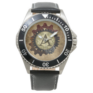 Grunge Steampunk Gears Monogram Letter A Watches