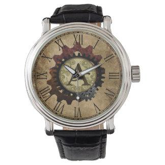Grunge Steampunk Gears Monogram Letter A Wrist Watch