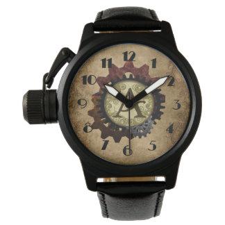 Grunge Steampunk Gears Monogram Letter A Wristwatch