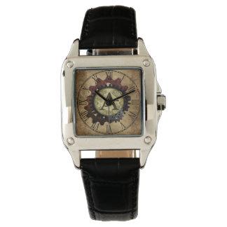 Grunge Steampunk Gears Monogram Letter A Wristwatches