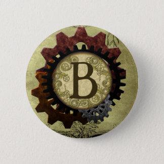 Grunge Steampunk Gears Monogram Letter B 2 Inch Round Button