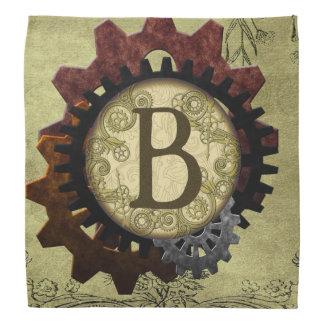 Grunge Steampunk Gears Monogram Letter B Bandannas