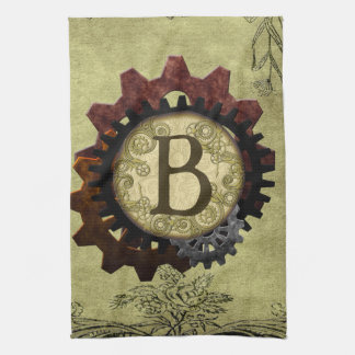 Grunge Steampunk Gears Monogram Letter B Kitchen Towel