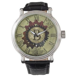 Grunge Steampunk Gears Monogram Letter B Watch